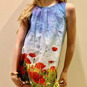 🌸Girl's Cotton Dress Poppy Print